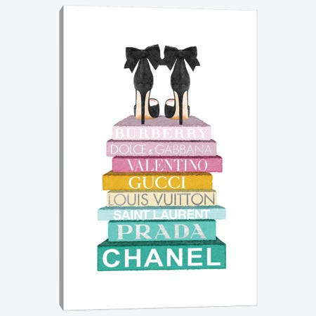 Rainbow Bookstack With Black Bow Shoes 3-Piece Canvas #GRE378} by Amanda Greenwood Canvas Art Print