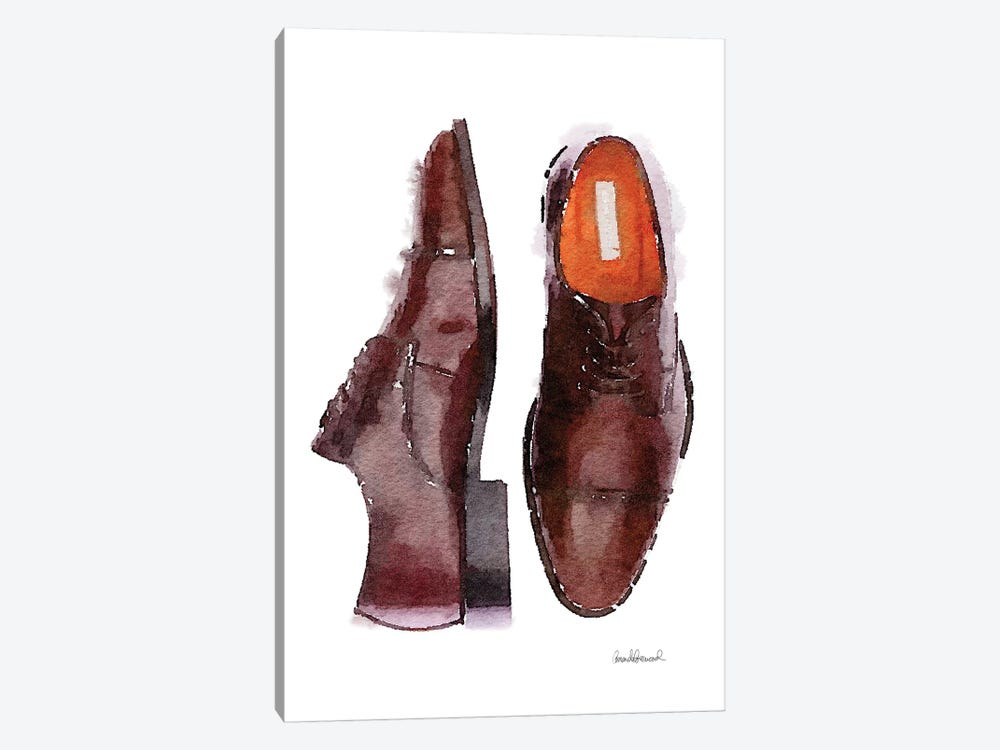 Men's Brown Shoes by Amanda Greenwood 1-piece Art Print