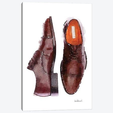 Men's Brown Shoes Canvas Print #GRE37} by Amanda Greenwood Canvas Art