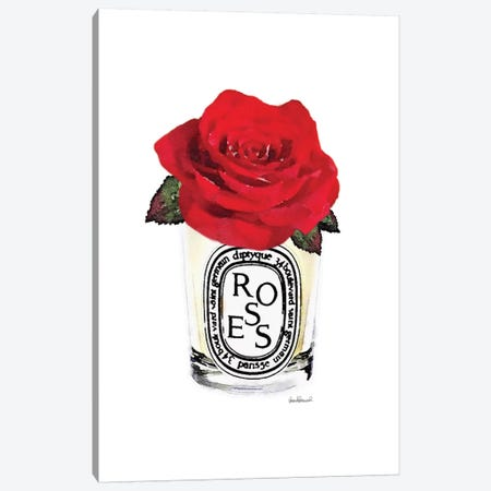 Candle With Red Rose Canvas Print #GRE381} by Amanda Greenwood Canvas Wall Art