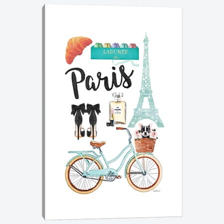 Paris City Collage Canvas Print #GRE389} by Amanda Greenwood Canvas Art