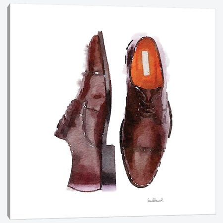 Men's Brown Shoes, Square Canvas Print #GRE38} by Amanda Greenwood Art Print