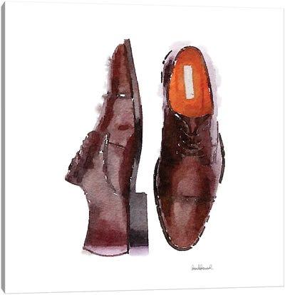 Men's Brown Shoes, Square Canvas Art Print