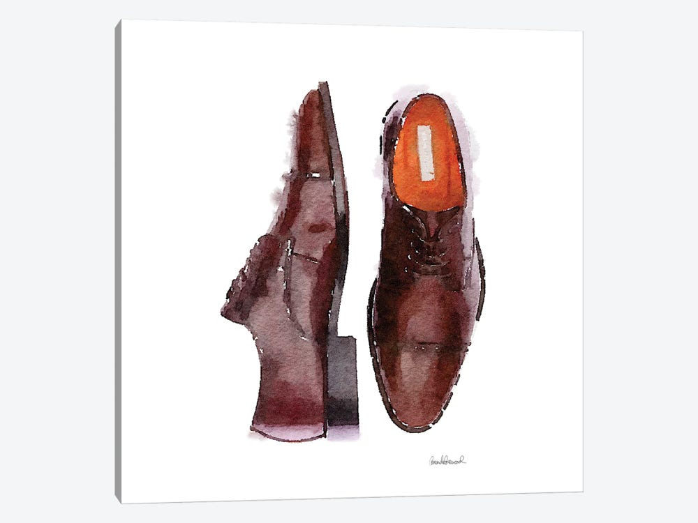 Men's Brown Shoes, Square by Amanda Greenwood 1-piece Canvas Wall Art