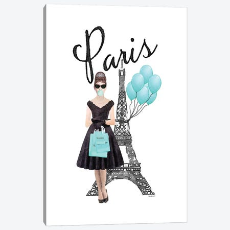 Eiffel Tower With Audrey And Balloons Canvas Print #GRE390} by Amanda Greenwood Canvas Art Print