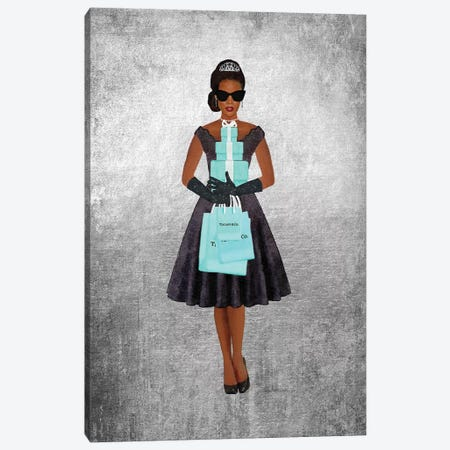 Shopping Spree, Silver, Teal And Black, African-American Canvas Print #GRE397} by Amanda Greenwood Canvas Wall Art