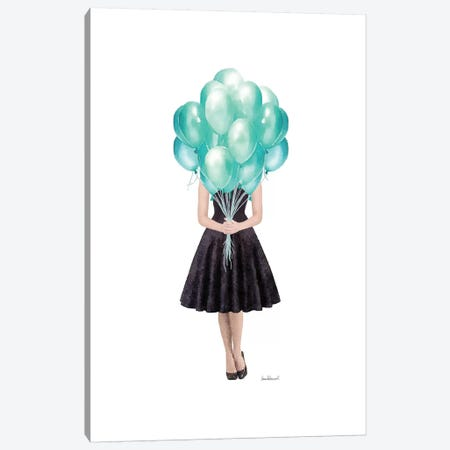 Audrey Holding Balloons, Teal Canvas Print #GRE399} by Amanda Greenwood Canvas Art Print