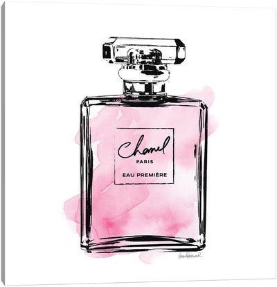 Black And Pink Perfume Bottle Canvas Art Print