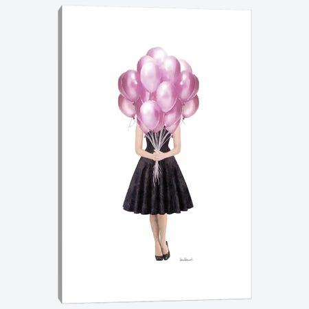 Audrey Holding Balloons, Pink Canvas Print #GRE400} by Amanda Greenwood Art Print