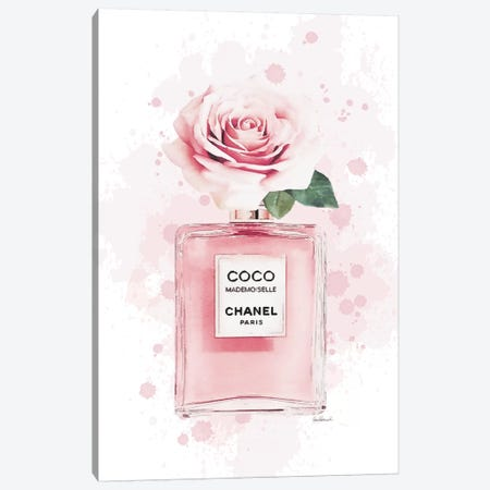 Rose On Perfume In Blsuh With Painted Background Canvas Print #GRE402} by Amanda Greenwood Art Print