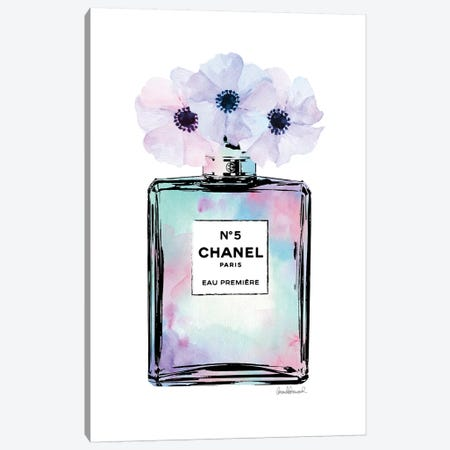 Mint, Purple And Pink Perfume With Painted Flowers Canvas Print #GRE403} by Amanda Greenwood Canvas Art Print