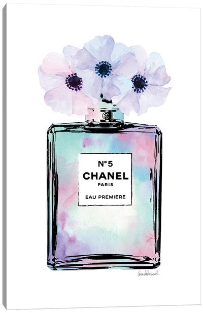 Mint, Purple And Pink Perfume With Painted Flowers Canvas Art Print