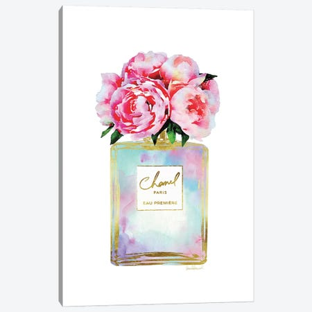 Gold, Mint, Purple, And Pink Perfume With Peonies Canvas Print #GRE404} by Amanda Greenwood Canvas Artwork