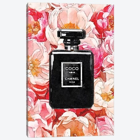 Black Perfume Bottle On A Bed Of Peonies Canvas Print #GRE405} by Amanda Greenwood Canvas Artwork