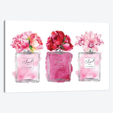 Perfume Trio In Silver And Pink Canvas Print #GRE406} by Amanda Greenwood Canvas Artwork
