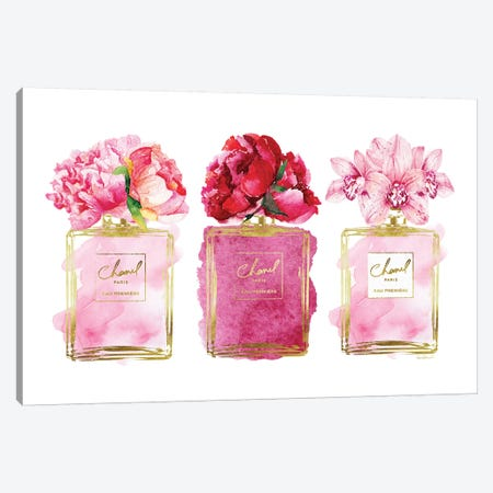 Perfume Trio In Gold And Pink Canvas Print #GRE407} by Amanda Greenwood Canvas Wall Art