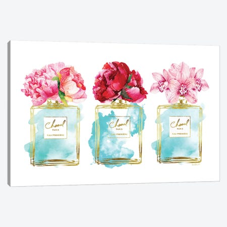 Perfume Trio In Gold And Blues Canvas Print #GRE408} by Amanda Greenwood Canvas Print