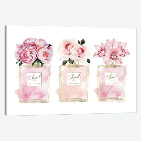 Perfume Trio In Champagne & Blush Canvas Print #GRE409} by Amanda Greenwood Canvas Print