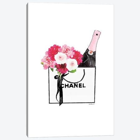 White, Shopper, Flowers, And Champagne Canvas Print #GRE411} by Amanda Greenwood Canvas Artwork