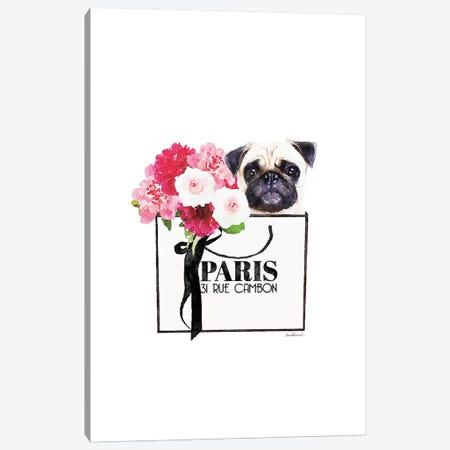 White Shopper, Flowers, And Pug Canvas Print #GRE412} by Amanda Greenwood Canvas Artwork