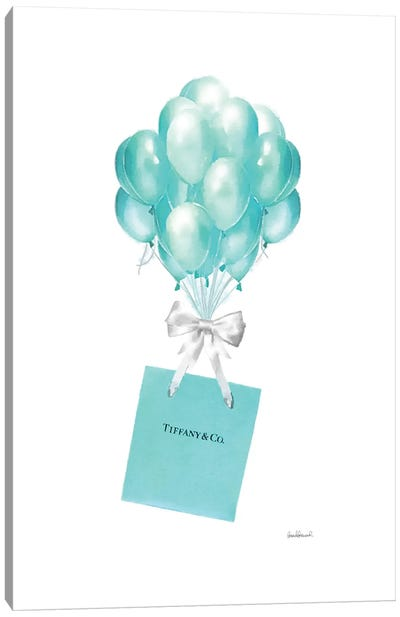 Balloons And Gift Bags, Teal Canvas Art Print