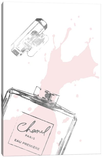 Splashing Perfume In Silver And Blush Canvas Art Print