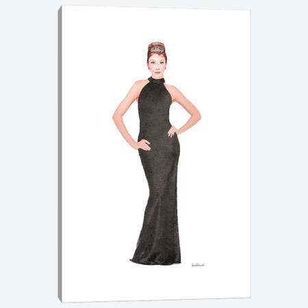 Audrey Black Evening Gown Canvas Print #GRE425} by Amanda Greenwood Canvas Artwork