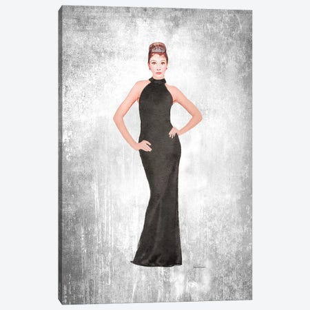 Audrey Black Evening Gown, Grunge Background Canvas Print #GRE426} by Amanda Greenwood Canvas Wall Art
