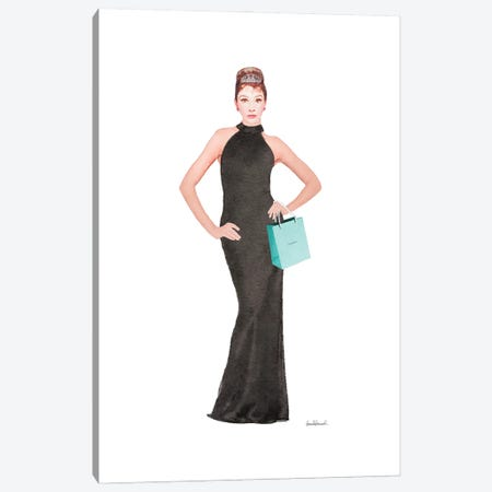 Audrey Black Evening Gown, Teal Bag Canvas Print #GRE427} by Amanda Greenwood Canvas Art