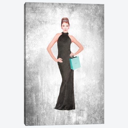 Audrey Black Evening Gown, Teal Bag, Grunge Background Canvas Print #GRE428} by Amanda Greenwood Canvas Print