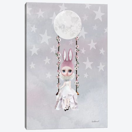 Miss Lily Rabbit Swings From The Moon Canvas Print #GRE42} by Amanda Greenwood Canvas Art