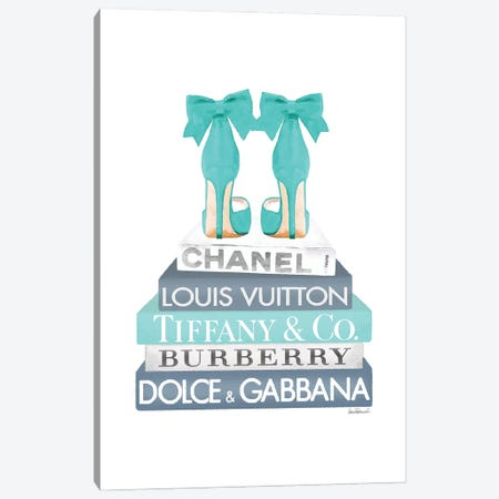 Blue And Teal Fashion Books With Bow Shoes Canvas Print #GRE432} by Amanda Greenwood Canvas Art
