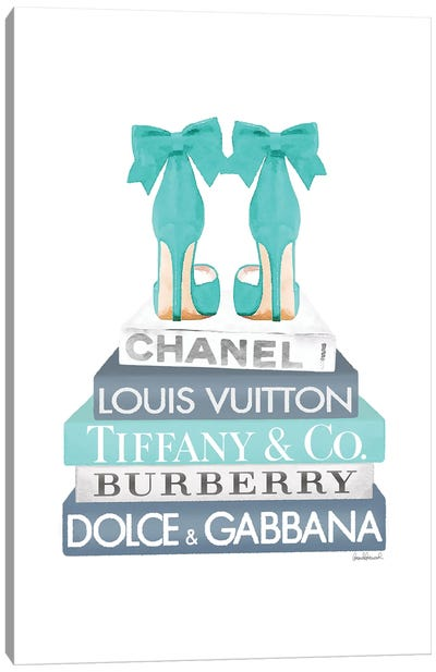 Blue And Teal Fashion Books With Bow Shoes Canvas Art Print