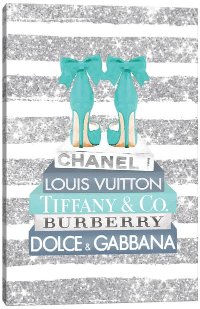 Blue And Teal Fashion Books With Bow Shoes Glitter Stripe Canvas Art Print