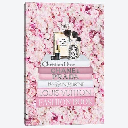 Blush Fashion Books On Pink Flower Wall Canvas Print #GRE436} by Amanda Greenwood Canvas Print