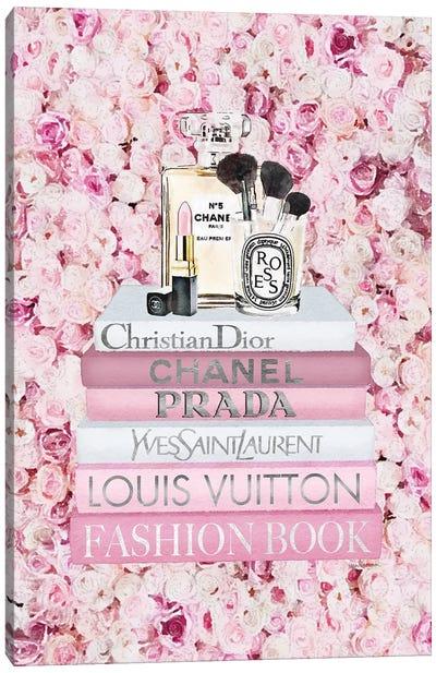 Blush Fashion Books On Pink Flower Wall Canvas Art Print