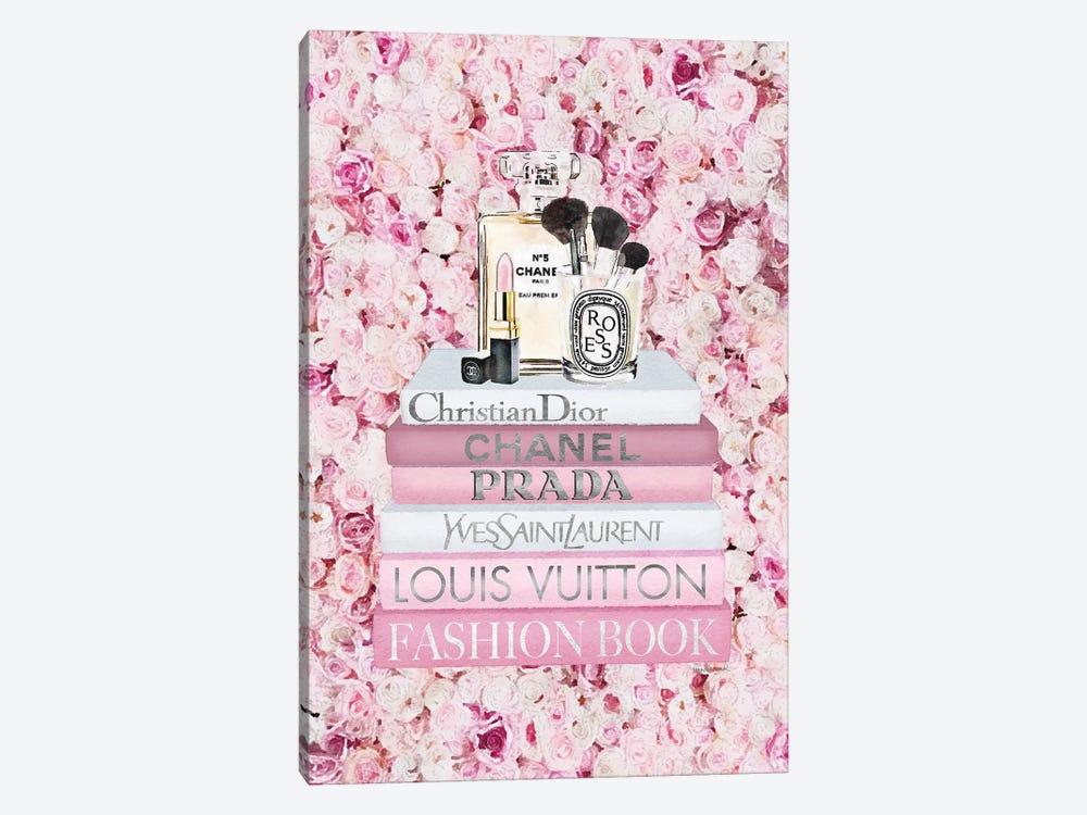 Blush Fashion Books On Pink Flower Wall by Amanda Greenwood 1-piece Canvas Art Print