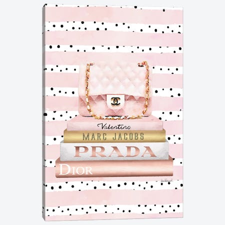 Books Medium Blush With Quilted Bag. Pink Stripes Black Dots Canvas Print #GRE437} by Amanda Greenwood Canvas Art Print