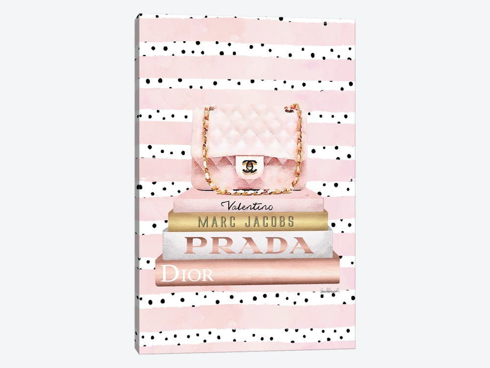 Books Medium Blush With Quilted Bag. Pink Stripes Black Dots by Amanda Greenwood 1-piece Canvas Artwork