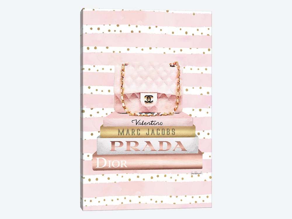 Books Medium Blush With Quilted Bag. Pink Stripes Gold Dots 1-piece Canvas Art Print