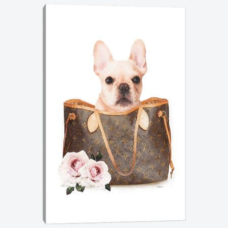 Brown Shoulder Bag With Cream Frenchie Canvas Print #GRE439} by Amanda Greenwood Canvas Artwork