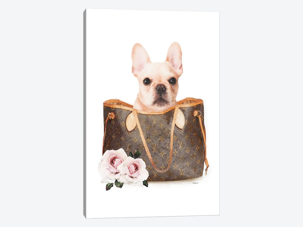 Brown Shoulder Bag With Cream Frenchie by Amanda Greenwood 1-piece Canvas Artwork
