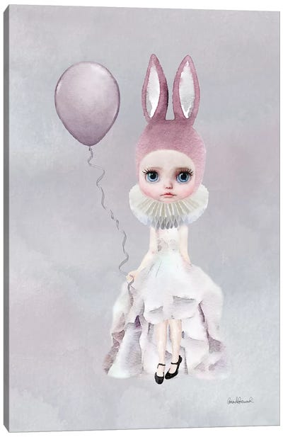 Miss Lily Rabbit With A Balloon Canvas Print #GRE43