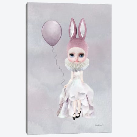 Miss Lily Rabbit With A Balloon Canvas Print #GRE43} by Amanda Greenwood Canvas Wall Art