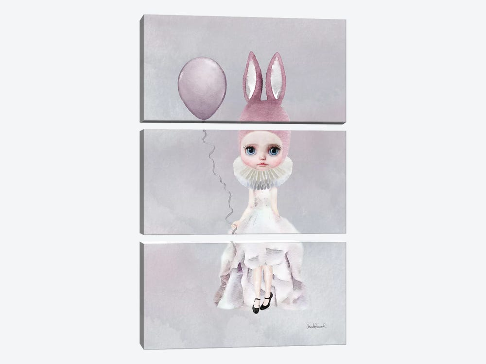 Miss Lily Rabbit With A Balloon by Amanda Greenwood 3-piece Canvas Artwork