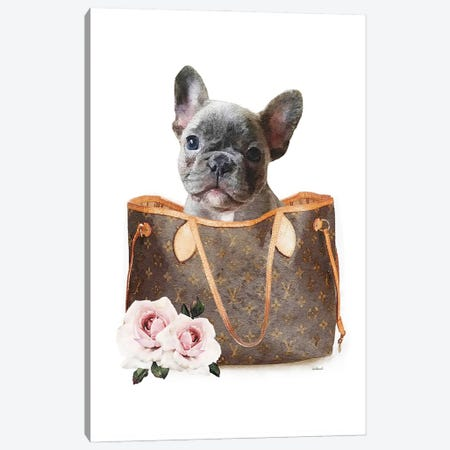 Brown Shoulder Bag With Grey Frenchie Canvas Print #GRE440} by Amanda Greenwood Canvas Print