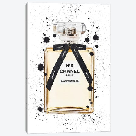 Classic Perfume With Bow And Ink Drips Canvas Print #GRE442} by Amanda Greenwood Canvas Art Print