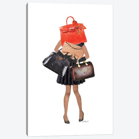 Girl Overloaded With Hand Bags I Canvas Print #GRE443} by Amanda Greenwood Canvas Art Print