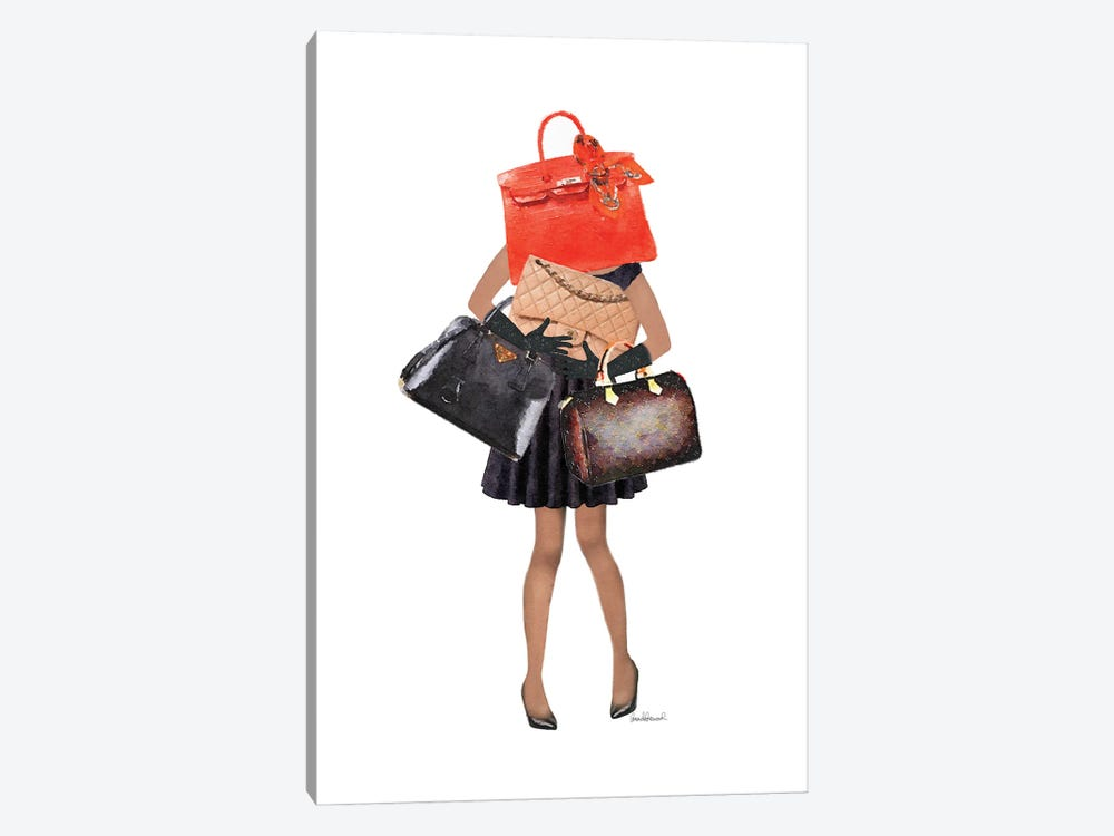 Girl Overloaded With Hand Bags I by Amanda Greenwood 1-piece Canvas Art Print