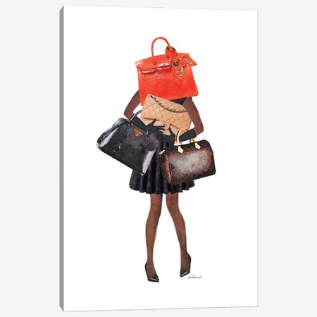 Girl Overloaded With Hand Bags II Canvas Print #GRE444} by Amanda Greenwood Canvas Wall Art